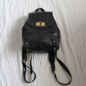 Merona Black Leather Mini Backpack Purse